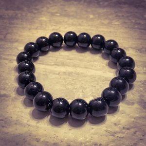 Jewelry - Black Tourmaline Round Bead Bracelet Stretchy Band